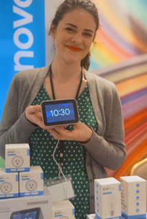 Lenovo's Kelly Corrigan with Smart Clock with Google Assistant.   (Techstination photo by L. Fishkin)